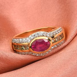 Pink Ruby, Green Sapphire and Natural Cambodian Zircon Ring in 14K Gold Overlay Sterling Silver 1.87