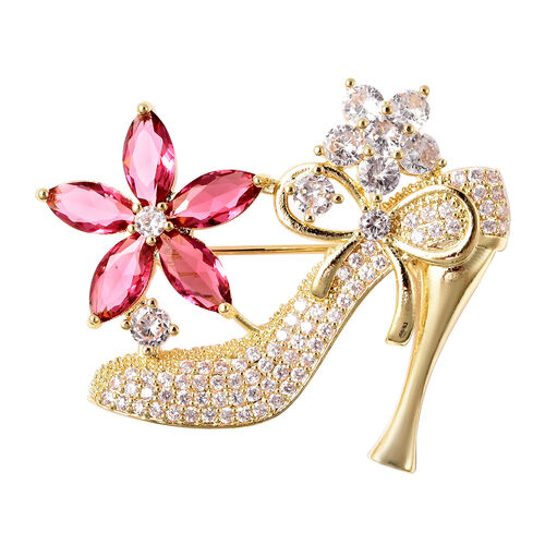 Simulated Diamond and Simulated Pink Sapphire Heel Brooch or Pendant in Gold Tone