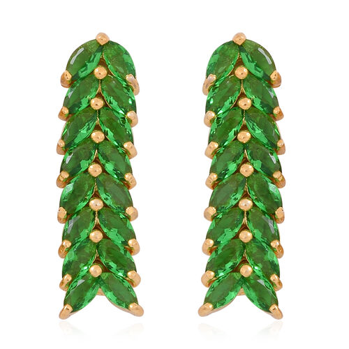 Designer Inspired-ELANZA AAA Simulated Tsavorite (Mrq) Earrings (with Push Back) in 14K Gold Overlay Sterling Silver