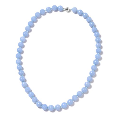 318 Ct Machu Picchu Angelite Beaded Necklace in Silver with Magnetic Lock 20 Inch