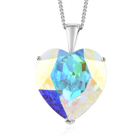 J Francis - Crystal from Swarovski AB Crystal (Hrt) Solitaire Pendant with Chain (Size 30) in Platin