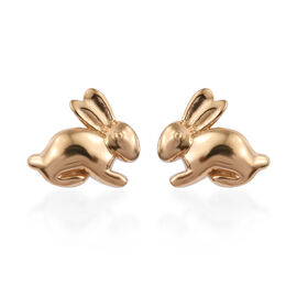 14K Gold Overlay Sterling Silver Bunny Stud Earrings (with Push Back)