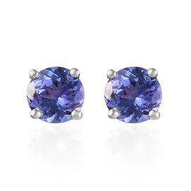 Tanzanite (Rnd) Stud Earrings (with Push Back) in Platinum Overlay Sterling Silver 1.000 Ct.