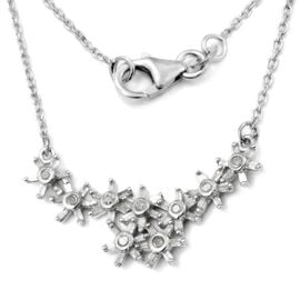 GP 0.52 Ct Diamond and Blue Sapphire Floral Necklace in Platinum Plated Sterling Silver 18 Inch