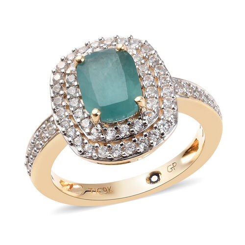 GP 2.15 Ct AAA Grandidierite and Multi Gemstone Halo Ring in 9K Gold