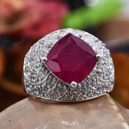 GP African Ruby (Cush 10x10 mm), Natural Cambodian Zircon and Blue Sapphire Ring in Platinum Overlay Sterling Silver 7.500 Ct, Silver wt 6.10 Gms.