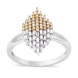 9K White Gold Diamond (Bgt), Yellow Diamond Cluster Ring 0.50 Ct.