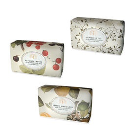 THE ENGLISH SOAP COMPANY- Vintage Italian wrapped 3 x 200g Soap Collect Fruity-  Lemon and Mandarin, Autumn Fruits and Genovese Fig- Estimated delivery within 5-7 working days
