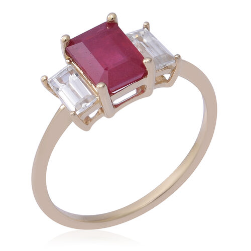 9K Yellow Gold AAA African Ruby (Oct 8x6mm), Natural Cambodian Zircon Trilogy Ring 3.70 Ct.