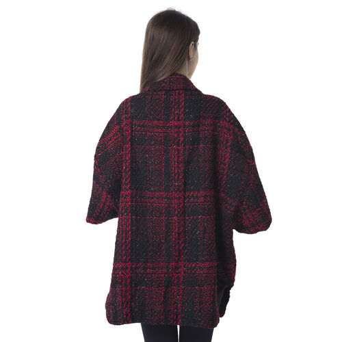 Designer Inspired - Red and Black Colour Check Pattern Jacket with Collar (Size 80x65Cm)