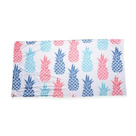 Blue, Red and White Colour Pineapple Pattern Beach Towel or Bag (Size 88x170 Cm)