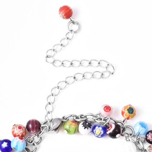 Multi Colour Murano Glass Ankelt (Size 7.5 with 3.5 inch Extender) in Stainless Steel Anklet
