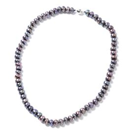 Fresh Water Peacock Pearl Beads Necklace (Size 20) in Rhodium Overlay Sterling Silver