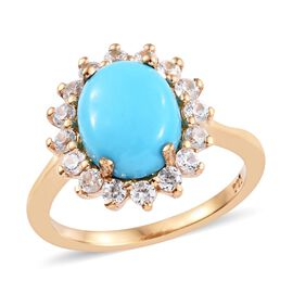SLEEPING BEAUTY TURQUOISE (2.25 Ct),Cambodian Zircon 14K Gold Overlay Sterling Silver Ring  3.000  C
