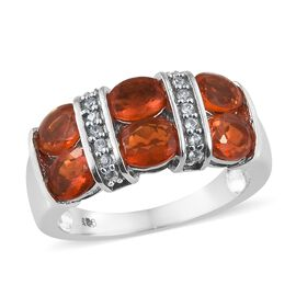 Jalisco Fire Opal (Ovl 1.40 Ct), Natural Cambodian Zircon Ring in Platinum Overlay Sterling Silver 1