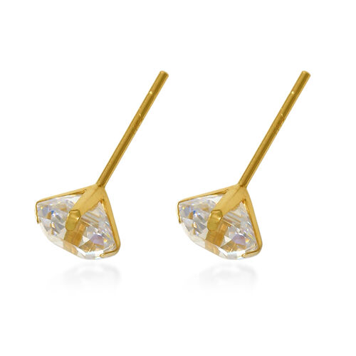 One Time Close Out Deal- 9K Yellow Gold Asscher Cut Swarovski Zirconia Earrings (with Push Back) 2.00 Ct.