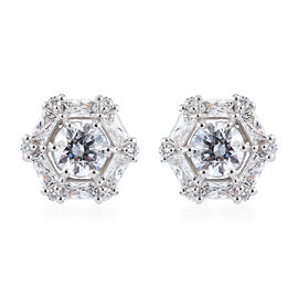 J Francis Platinum Overlay Sterling Silver Stud earring s(with Push Back) Made with SWAROVSKI ZIRCON
