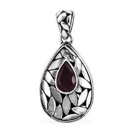 Royal Bali 1.85 Ct African Ruby Drop Pendant in Sterling Silver 4.3 Grams