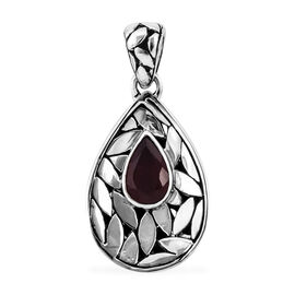 Royal Bali 1.85 Ct African Ruby Drop Pendant in Sterling Silver 4.3 Grams