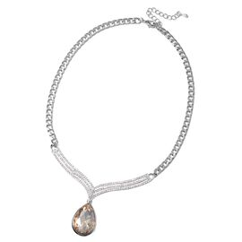 Designer Inspired- Simulated Champagne Diamond (Pear 29x30 mm), White Austrian Crystal Necklace (Siz