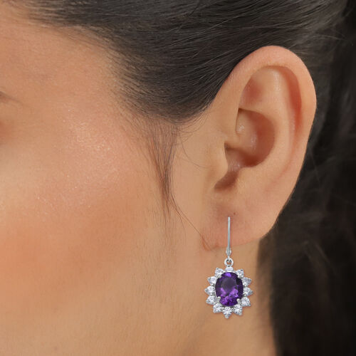 Lusaka Amethyst and Natural Cambodian Zircon Floral Halo Drop Lever Back Earrings in Rhodium Overlay Sterling Silver 7.60 Ct.