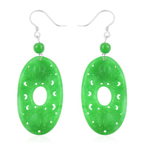 Hand Carved - Green Jade Charm Symbol Hook Earrings in Rhodium Plated Sterling Silver 40.000 Ct.