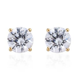 J Francis - 14K Gold Overlay Sterling Silver (Rnd 7.5 mm) Stud Earrings (with Push Back) Made with SWAROVSKI ZIRCONIA