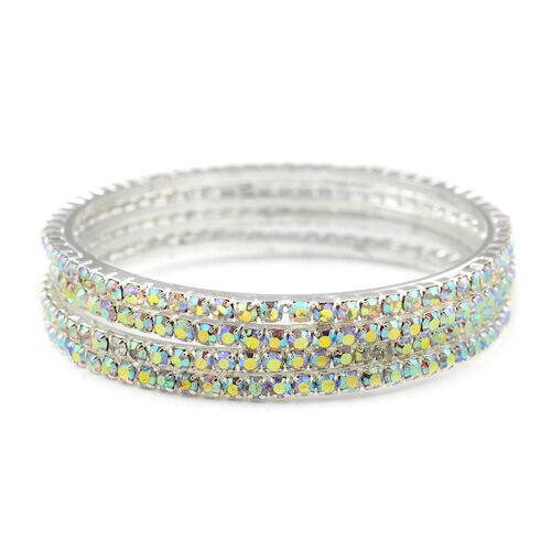 4 Piece Set Simulated Rainbow Sapphire Bangle (Size 7.75) in Silver Tone