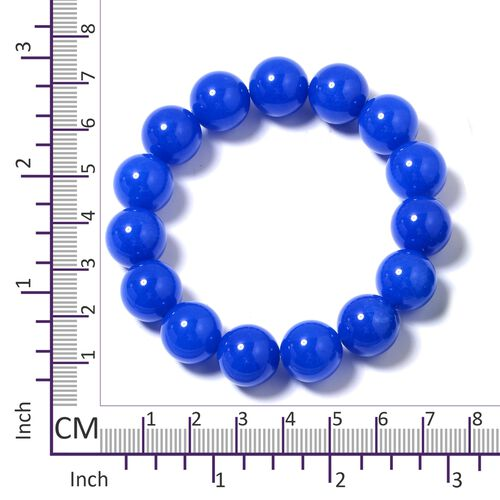 Set of 2- Blue and Green Quartzite (Rnd) Beads Bracelet 568.150 Ct.