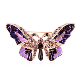 Black and Purple Austrian Crystal Enamelled Butterfly Brooch in Gold Tone
