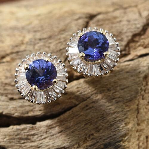 9K Yellow Gold AA Tanzanite (Rnd), Diamond Halo Earrings 1.000 Ct.