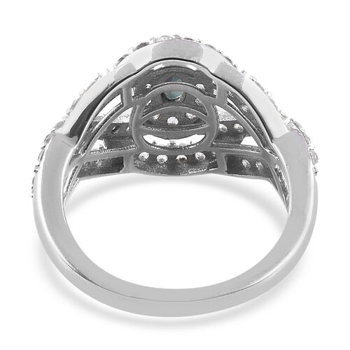 Narsipatnam Alexandrite, Natural Cambodian Zircon Ring in Platinum Overlay Sterling Silver 1.25 Ct.
