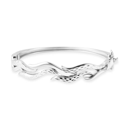 Lucy Q Flame Collection Diamond Cut Bangle in Rhodium Plated Sterling Silver 6.75 Inch