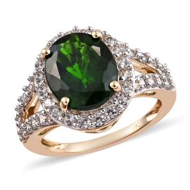 4.50 Ct Russian Diopside and Zircon Halo Ring in 9K Gold 3.17 Grams