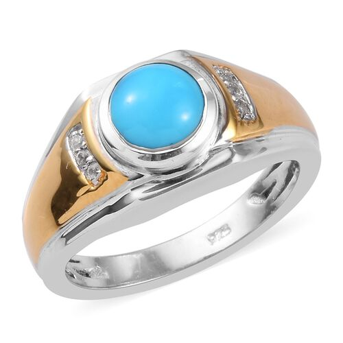 Sleeping Beauty Turquoise and Zircon Ring in Platinum and Gold Plated Sterling Silver,1.25 Ct