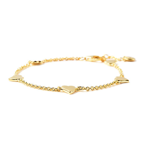 RACHEL GALLEY Heart Collection - Yellow Gold Overlay Sterling Silver Heart Station Adjustable Bracelet (Size 7.75)