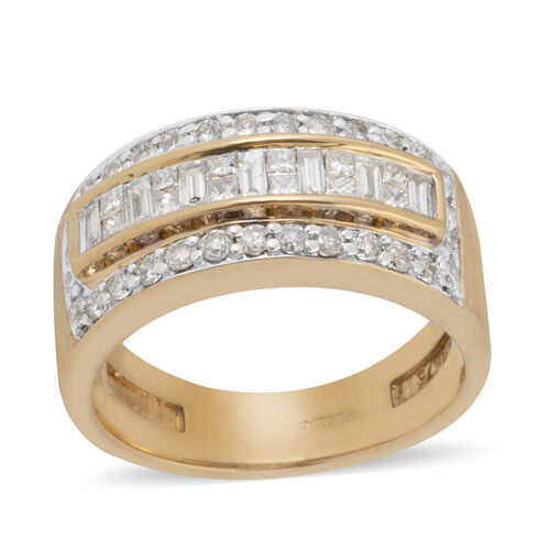 14K Yellow Gold (I1/G-H) Diamond (Bgt) Band Ring 0.750 Ct, Gold wt 5.20 Gms.