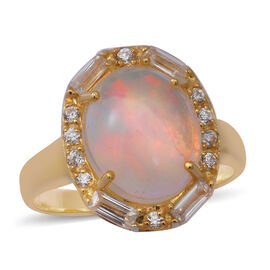 Ethiopian Welo Opal and Natural Cambodian Zircon Ring in Yellow Gold Overlay Sterling Silver 3.85 ct