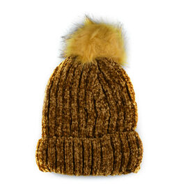 Chenille Cable Ladies Bobble Knit Hat - Gold