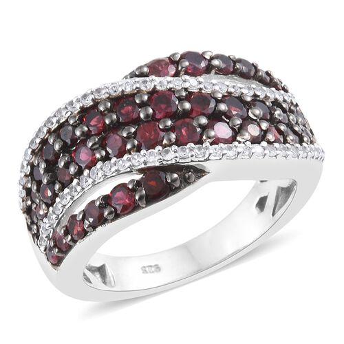 Arizona Anthill Garnet (Rnd), Natural Cambodian Zircon Ring in Platinum Overlay Sterling Silver 2.40
