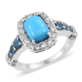 2.50 Ct Sleeping Beauty Turquoise and Multi Gemstones Halo Ring in Sterling Silver