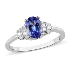 Tanzanite and Diamond Ring in Platinum Overlay Sterling Silver 0.90 Ct.