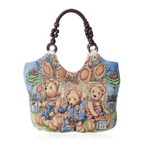 Blue and Multi Colour Bear Pattern Jacquard Tote bag (Size 41x29x11 Cm)