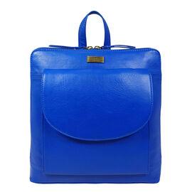 Assots London APPLE Two Way Zip Top Backpack in Cobalt Blue (Size 30x7x29.5 Cm)