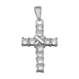 ELANZA Simulated Diamond Cross Pendant in Rhodium Plated Silver