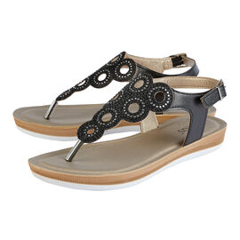 Lotus Milan Toe-Post Sandals in Black Colour