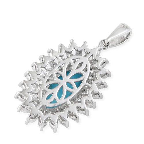 Arizona Sleeping Beauty Turquoise (Ovl), White Topaz Pendant in Platinum Overlay Sterling Silver 3.500 Ct, Silver wt 5.83 Gms