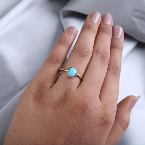Arizona Sleeping Beauty Turquoise Solitaire Ring in 14K Gold Overlay Sterling Silver