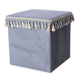 Grey Colour with Blue And Beige Tassels Foldable Storage box with Fringe Square (Size 38x38 Cm)