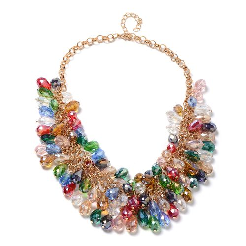 2 Piece Set - Multi Colour Murano Style Glass Beads Necklace (Size 20) and Earrings in Stainless Steel